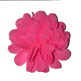 stoffen bloem 7 cm knal neon roze