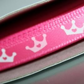 6mm breed felroze 6mm breed satijn lint met roze kroontjes p/m