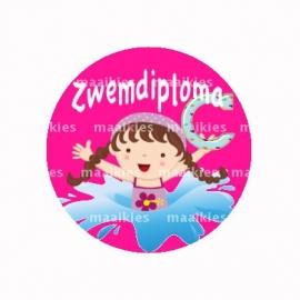 (FB517) zwemdiploma meisje C roze
