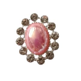Parel flatback ovaal donker roze