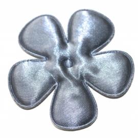 65mm donker grijs satijn bloem
