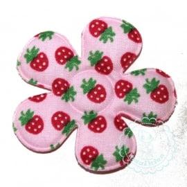 35mm roze bloem aardbei print
