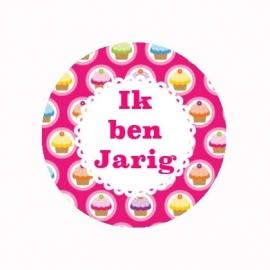 FB425 IK ben jarig cake felroze