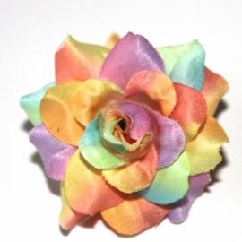 Stoffen roos met steel 4cm rainbow pastel