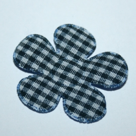 35mm gingham ruit bloem navy