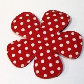 47mm polkadot bloem stof rood
