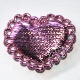 Schulp hartje metallic roze