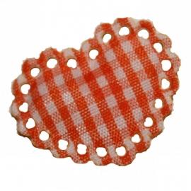 Oranje / wit stoffen ruit hartje met kantje ~ 1 stuks