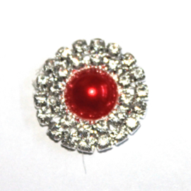Strass flatback parel 20mm rood
