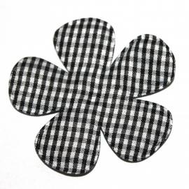 Zwart gingham ruit bloem 65mm