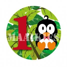 Verjaardags button pinguin 1-6 jaar