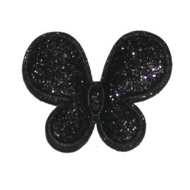 glitter vlinder zwart p/s
