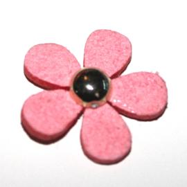 bloem van leer roze met goud