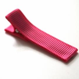 Alligator clip bekleed met felroze grosgrain lint