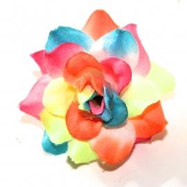 Stoffen roos met steel 4cm rainbowneon