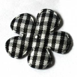 25mm ruit bloem zwart 10 stuks