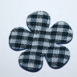 20mm gingham ruit bloemen navy