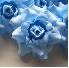 Stoffen roos met steel 4cm blauw