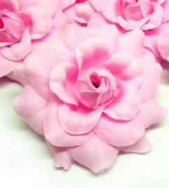 stoffen roosje met steeltje 4cm roze