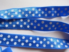 haarband elastiek ROYAL /COBALT polkadot 15mm