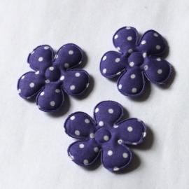 35mm stippen bloem donker paars p/s
