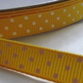 GEEL grosgrain geweven band polkadot 5m