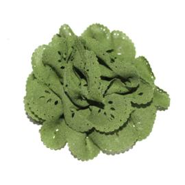 Bloem met gaatjes mos groen (8cm)
