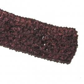 Haarbandje gehaakt 3,5cm breed bruin