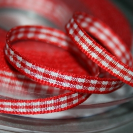 Rood Gingham Ruit band 4mm breed