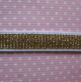 wit met goud glitter elastiek 10mm breed