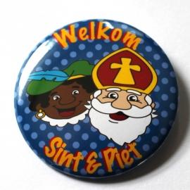 Sinterklaas button blauw stip