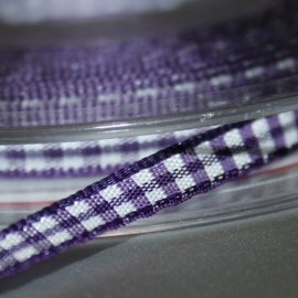 Paars gingham Ruit band 5mm breed