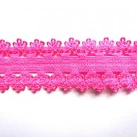 haarband elastiek kant neon roze 18mm