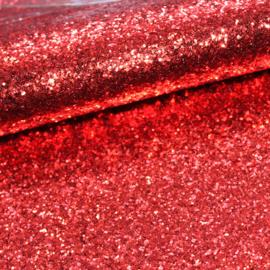 lapje grove glitter imitatie leer rood