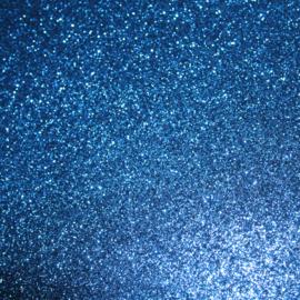 lapje pu leer glitter royal blauw