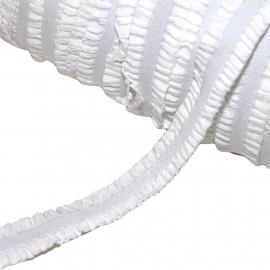 Haarband elastiek ruche wit (13mm)