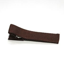 Alligator clip bekleed met bruin grosgrain lint