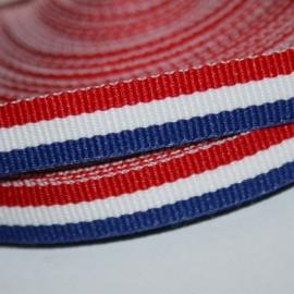 mooi geweven lint rood/wit blauw streep 10mm