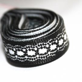 3m Grosgrain lint 10mm kant print zwart