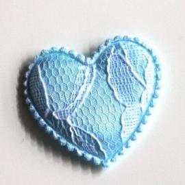 Satijn hartje kant blauw