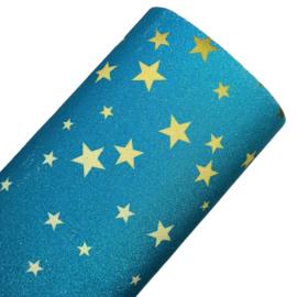 Blauter glitter lapje gele sterren