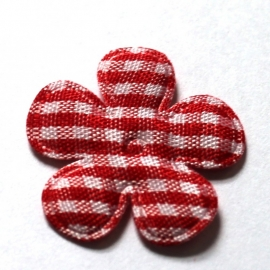 25mm ruit bloem rood