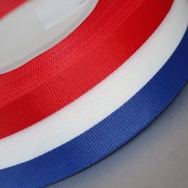 mooi geweven lint rood/wit blauw streep 25mm