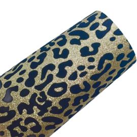 Lapje pu leer leopard print goud  glitter fluweel 30x20cm