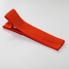 Alligator clip bekleed met oranje grosgrain lint