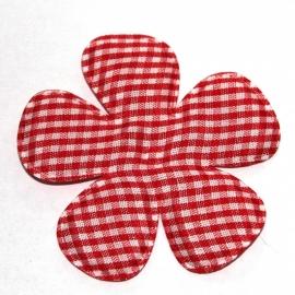 Rood gingham ruit bloem 65mm