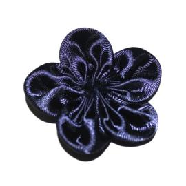 Satijn bloem rozet navy 5 cm
