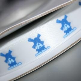 12mm breed wit satijn lint me molen in delfs blauw