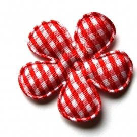 35mm gingham ruit bloemen rood