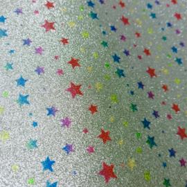 lapje pu leer glitter zilver sterren print